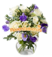 Freesia and roses bouquet