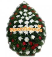 Wreath of carnations and mums