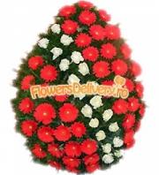 Funeral wreath of gerbera and roses