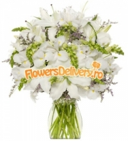 White lilies and irises